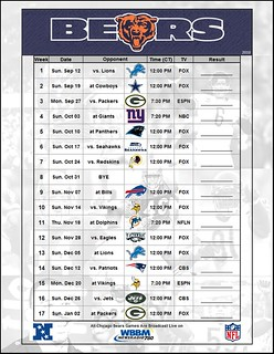 2010 Chicago Bears Schedule - folky15 | by folky15