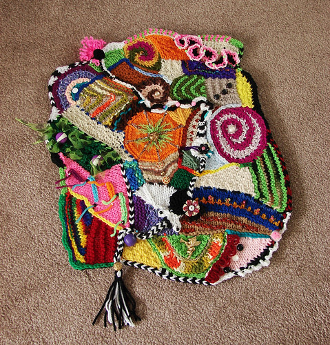 Knitting And Crocheting Images : Freeform knit and crochet collage using