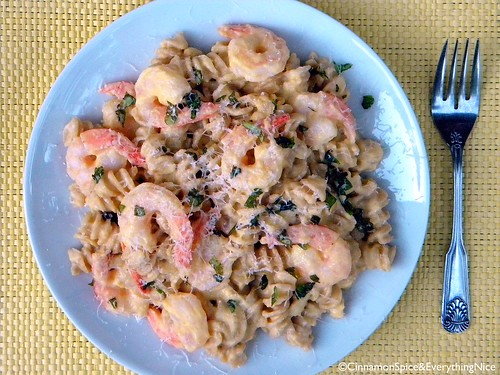 Pasta with Winter Squash and Shrimp | by CinnamonKitchn