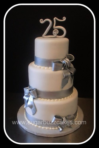 Cake Designs For Silver Jubilee : silver & white 25th anniversary cake Flickr - Photo Sharing!