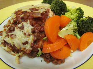 Blue Plate Special: Spaghetti Pie with Arrabbiata Sauce; Roasted Broccoli and Carrots