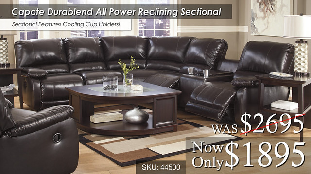 Capote Durablend All Power Reclining Sectional - 44500-58-46-77-90-61-T851