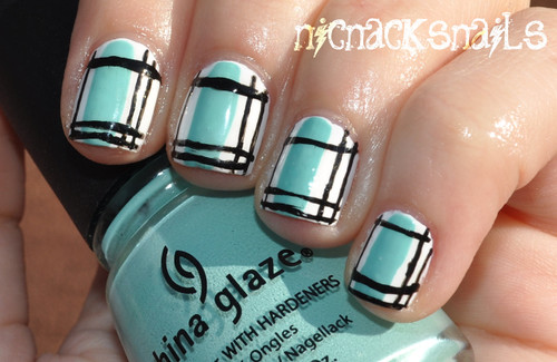 Plaid Nail Art (Blue Nails for Autism Awareness) | by Nic Nack's Nails