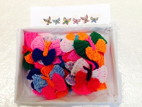 Knitted Butterflies are perfect thank you.