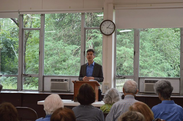 Brett Bonfield, executive director of the Princeton Public Library, addressing club members at the September 19, 2016 General Meeting DSC_0106