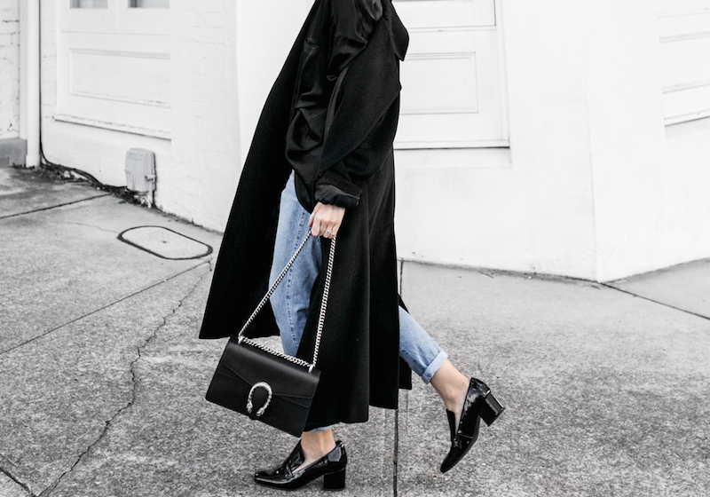 denim street style inspo fashion blogger minimal black outfit modern legacy bassike farfetch block heel loafer Gucci Dionysus bag (3 of 8)-2