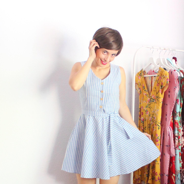 Outfit romwe vestido rayas