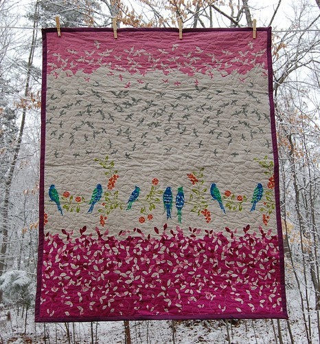 Bird Song Hot Pink | by HarvestCrafts Quilts