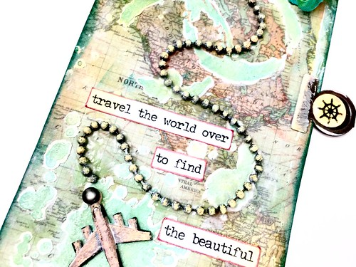 Meihsia Liu simply Paper crafts mixed media tag travel world Tim Holtz Simon says stamp Monday challenge