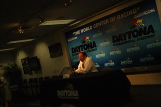 Chip Ganassi in the media center at Daytona International Speedway | by IndyCar Series