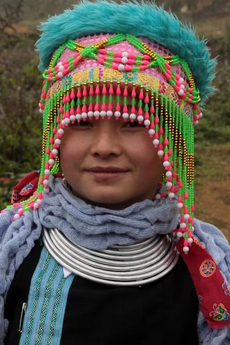 Vietnam ethnic minorities hmong girl with traditional he