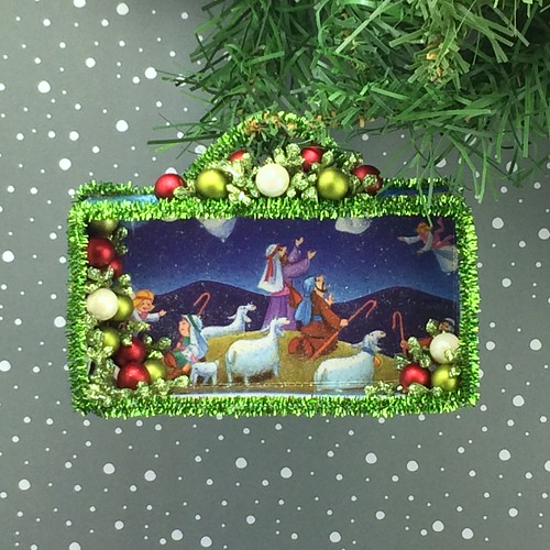 Shepherds and Angels / Christmas card shadow box