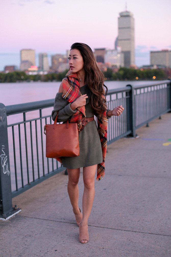 olive sweater scarf booties cute fall fashion ideas