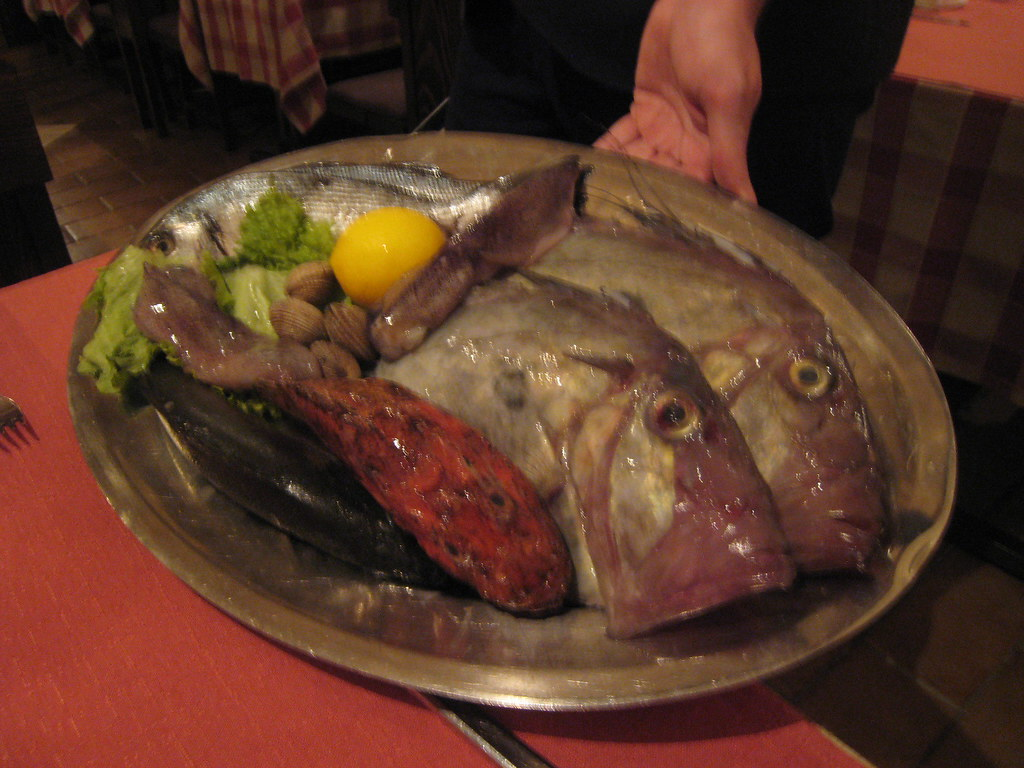 catch of the day at Konoba Varos in Split