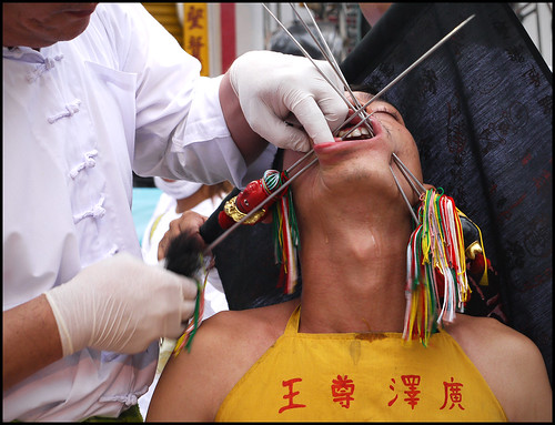 Face Piercing at Kathu Shrine - Phuket Vegetarian Festival 2016