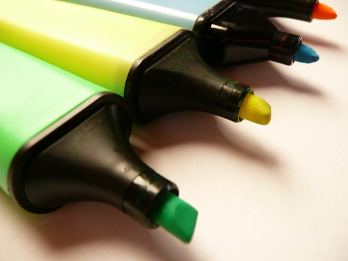 Close up / Macro of four felt-tip-pencils in green, yellow, blue and orange | by photosteve101