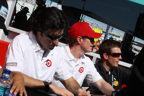 Dario Franchitti and Scott Dixon sign some autographs with teammate Jamie McMurray | by IndyCar Series