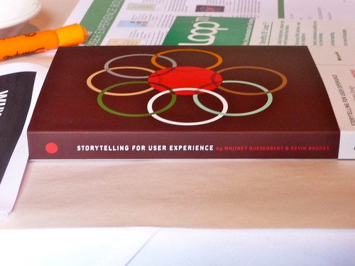 "Rosenfeld Media's ""Storytelling for User Experience - Crafting Stories for Better Design"".  A copy of this incredible book was given to each participant in the Writing for the Web Workshop. 