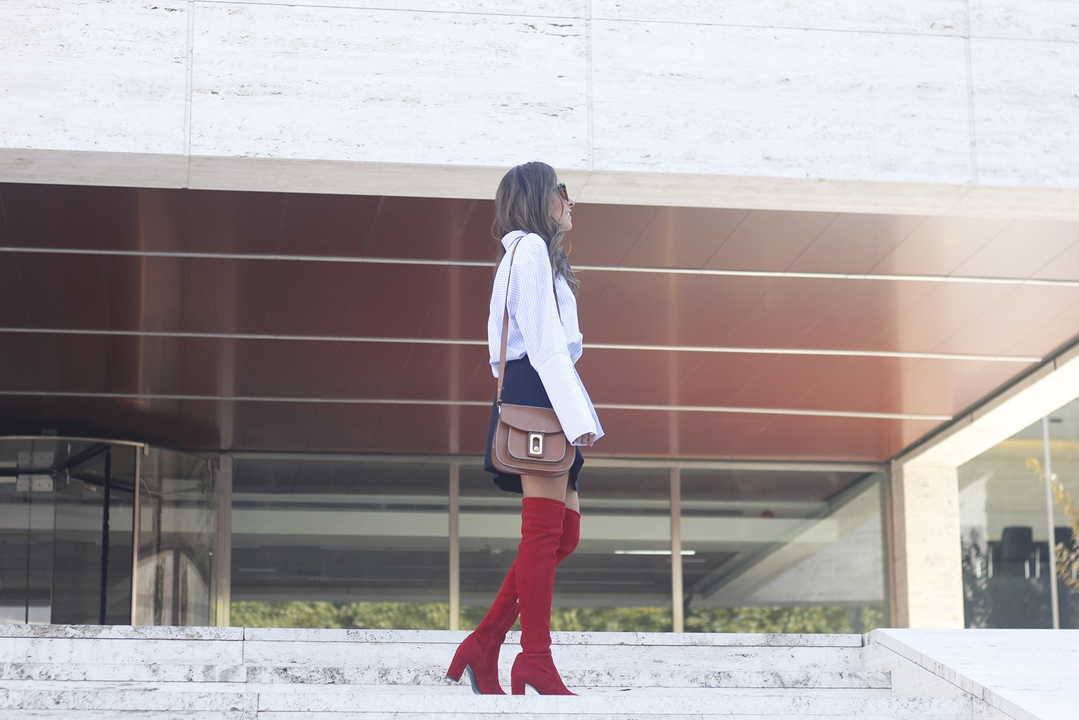 Red over the knee boots blue skirt sunnies accessories outfit style fashion11