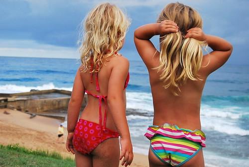 Girls watch storm