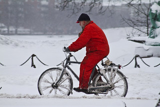 Snowstorm Boiler Suit - Winter Cycling in Copenhagen | by Mikael Colville-Andersen