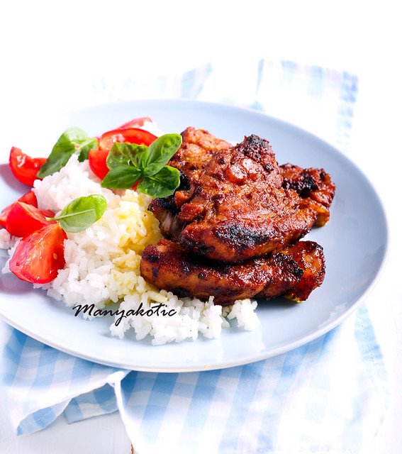 Honey and mustard pork ribs and rice