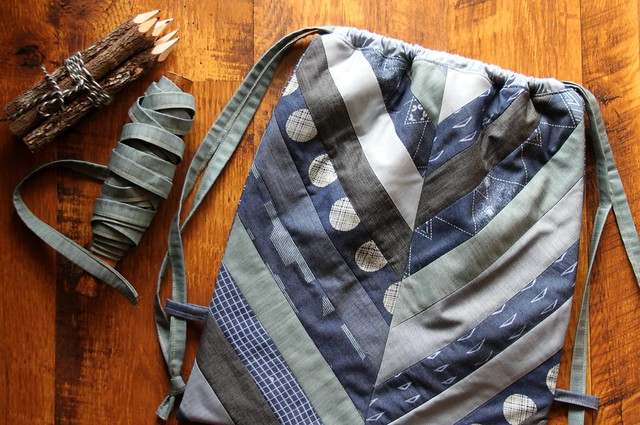Herringbone Backpack in Denim