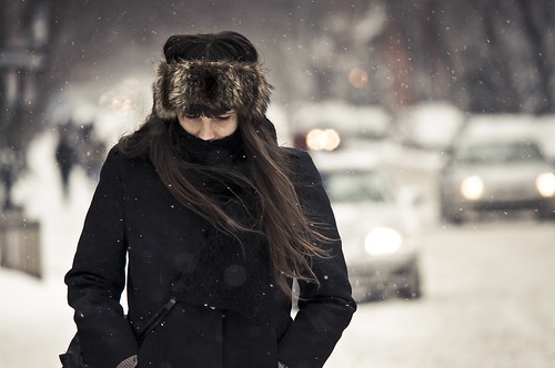 the hair, the wind, the bokeh and the snowflakes (explored) | by stephane (montreal)