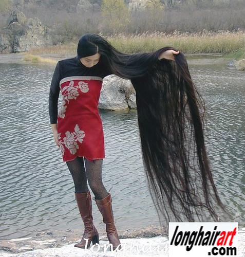 6 long hair Girl long hair lady long ponytail longest hair ...