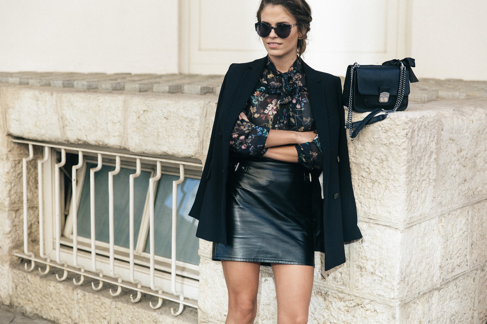 Jessie Chanes Seams for a desire - Buylevard Flowered Shirt Faux Leather Skirt Black Blazer-4