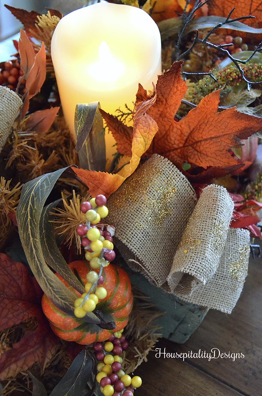 Balsam Hill Fall Harvest Garland - Balsam Hill Miracle Flame Pillar Candle - Housepitality Designs