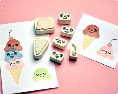 Ice Cream hand carved rubber stamp set | by Memi The Rainbow