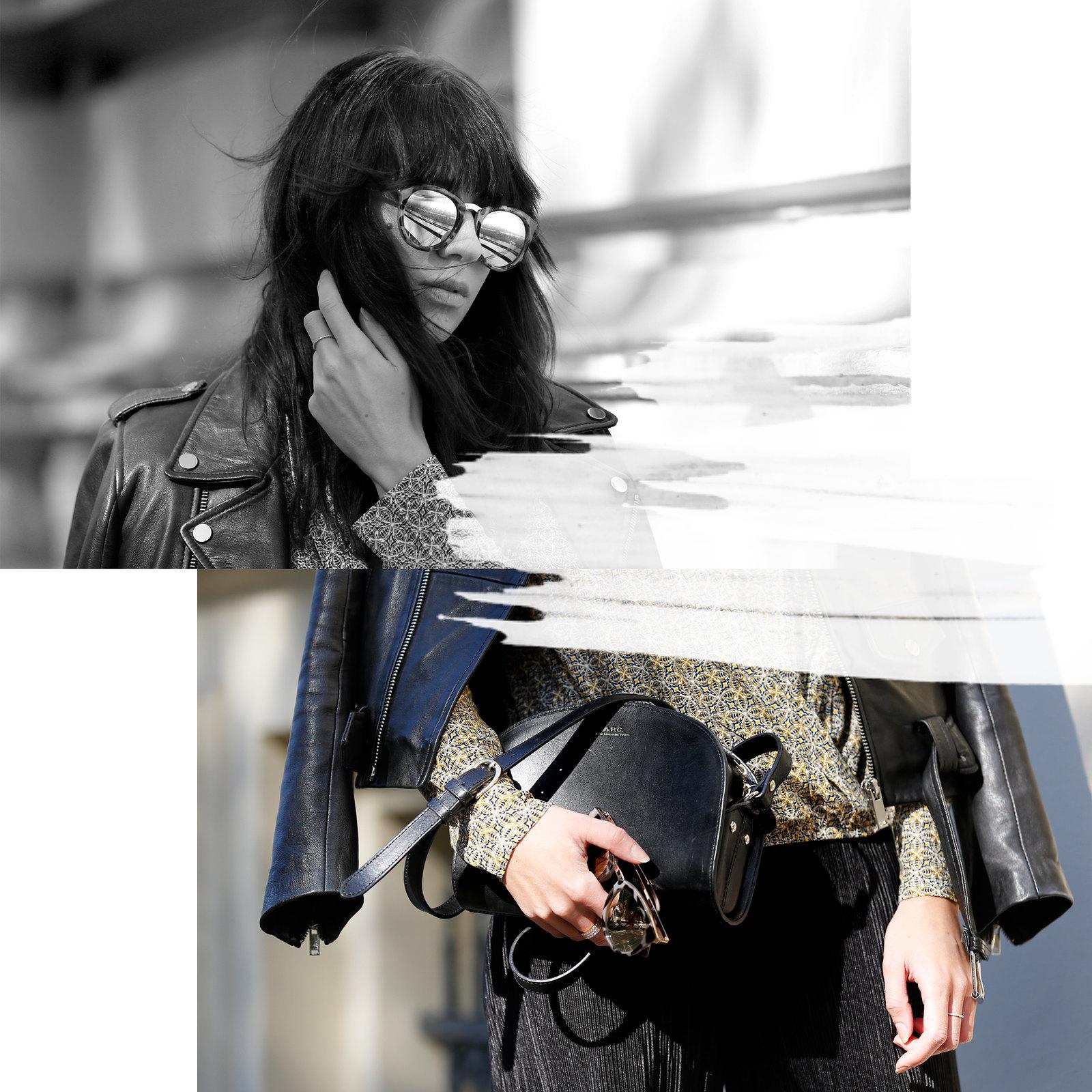 outfit ootd promod bluse herbst blouse shirt pattern muster lederjacke zara sonnenbrille sonne licht schatten cats & dogs fashion blog ricarda schernus modeblogger berlin blogger düsseldorf 1