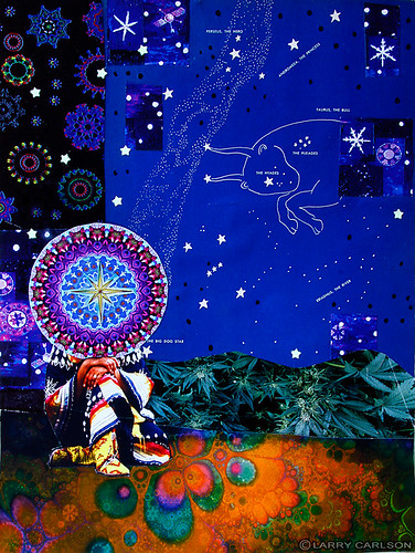 Larry Carlson, The Hyades, 2011, collage with paint, digital prints and found media on paper, 11inX14in. | by LARRY  CARLSON