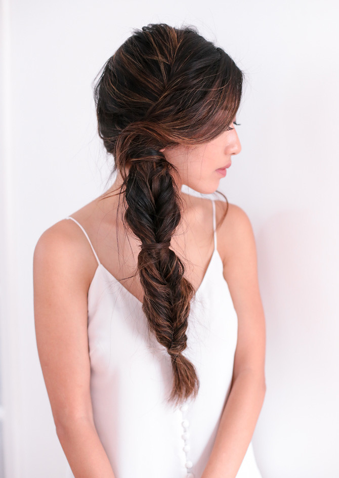 Side fishtail french braid tutorial step 9