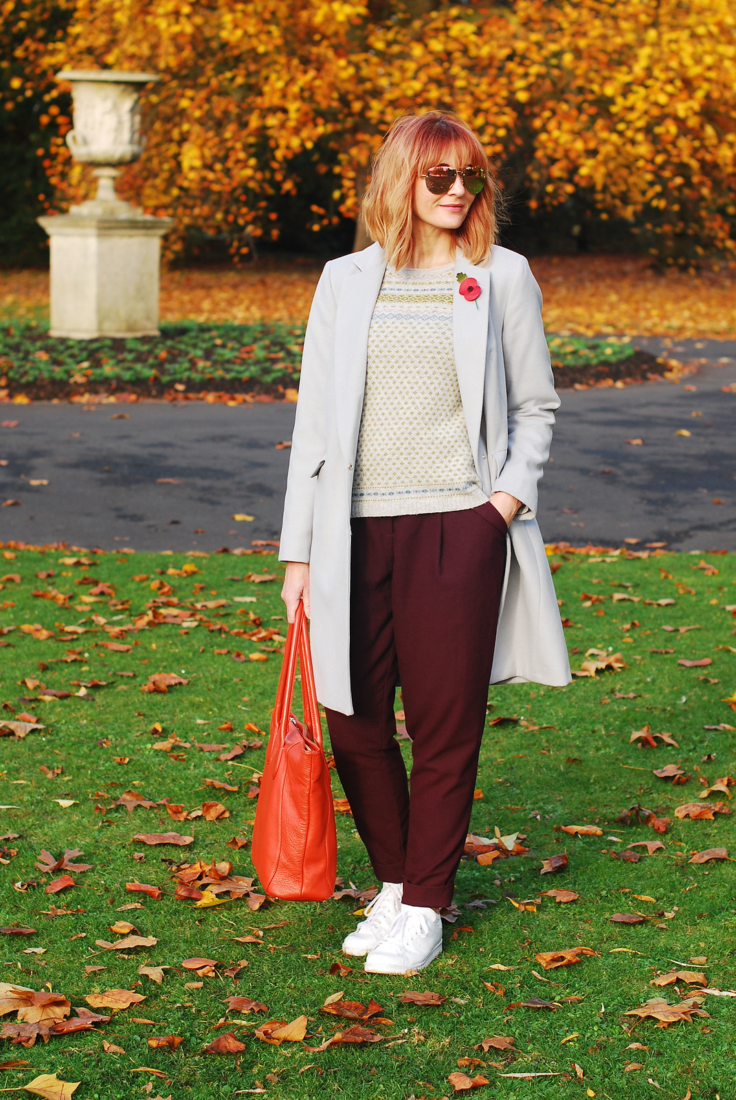 Autumn look \ fall outfit \ cold weather style \ grey duster coat, burgundy paper bag trousers, white Stan Smith sneakers, Fair Isle sweater | Not Dressed As Lamb, over 40 style