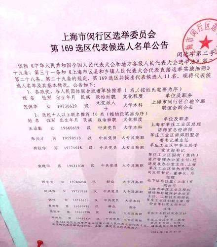 上海市闵行区选举委员会第169选区代表候选人名单公告