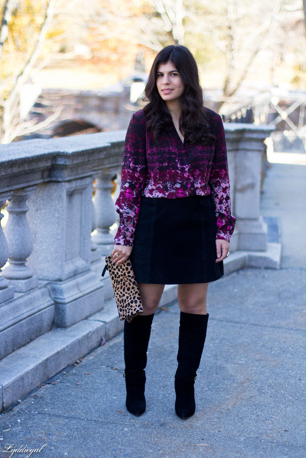 floral blouse, black suede mini skirt, knee high boots-2.jpg
