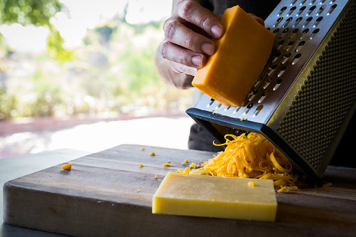 ribbons of extra-sharp cheddar