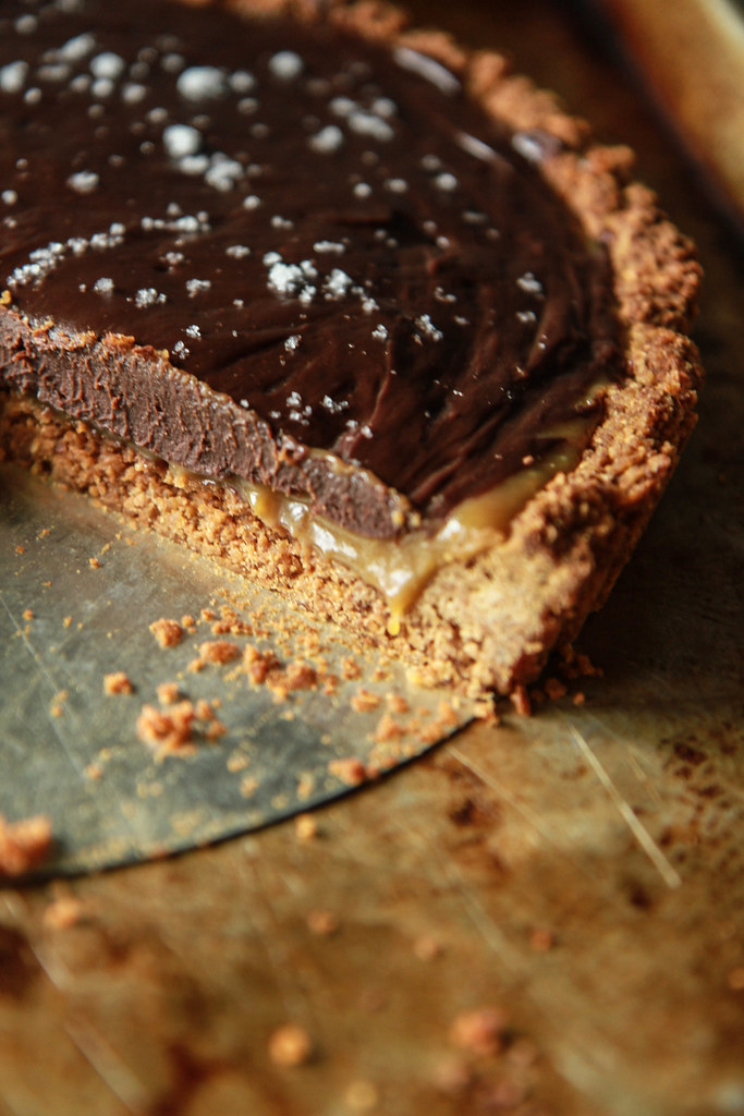 Pumpkin Caramel and Chocolate Ganache Tart with a Potato Chip Coconut Crust- Vegan and Gluten Free from HeatherChristo.com