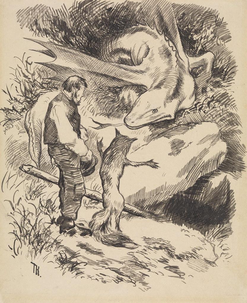 """Theodor Kittelsen - llustration for """" World pays no different """" in P. Chr. Asbjørnsen and J. Moe, Eventyrbog for Børn . Norwegian Folkeeventyr , Copenhagen 1887"""