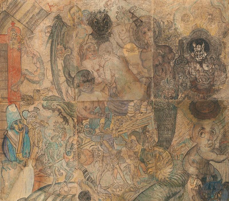 James Ensor - The Temptation of Saint  Anthony, detail 1, 1887