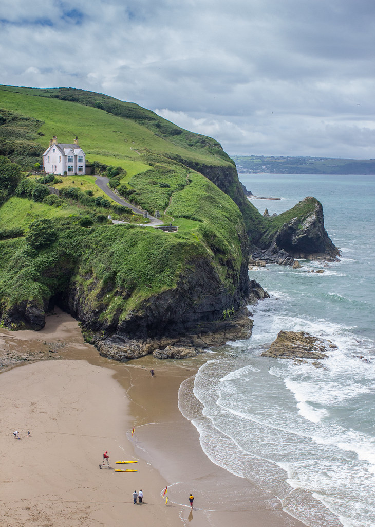 Beach house on top of a hill overlooking Llangrannog beach, Wales