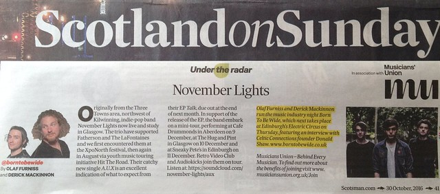 Scotland On Sunday, 30 October 2016, November Lights