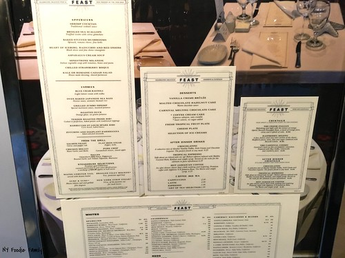 Carnival Sunshine Dinner Menu