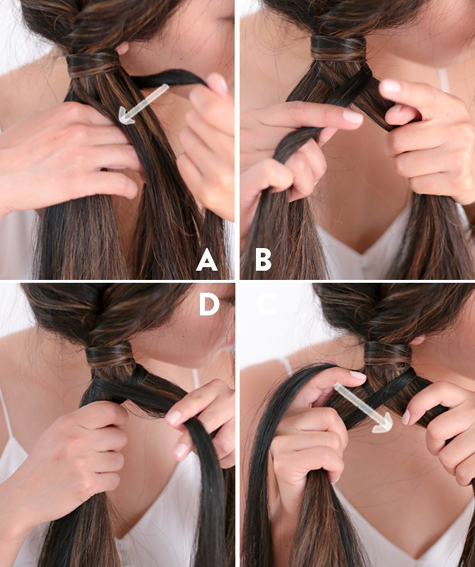 Side fishtail french braid tutorial step 5