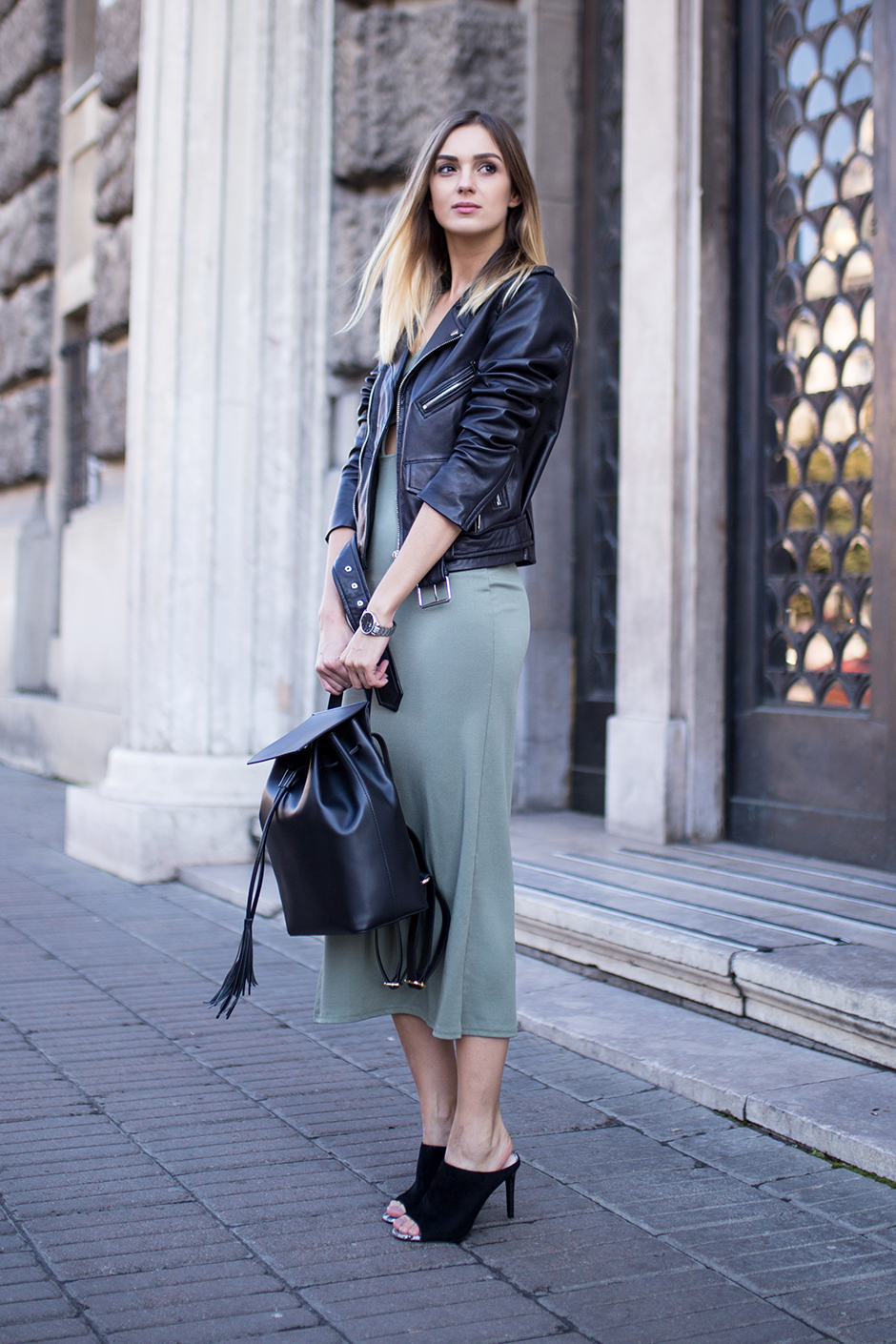 khaki-dress-leather-jacket-mules-street-style-outfit