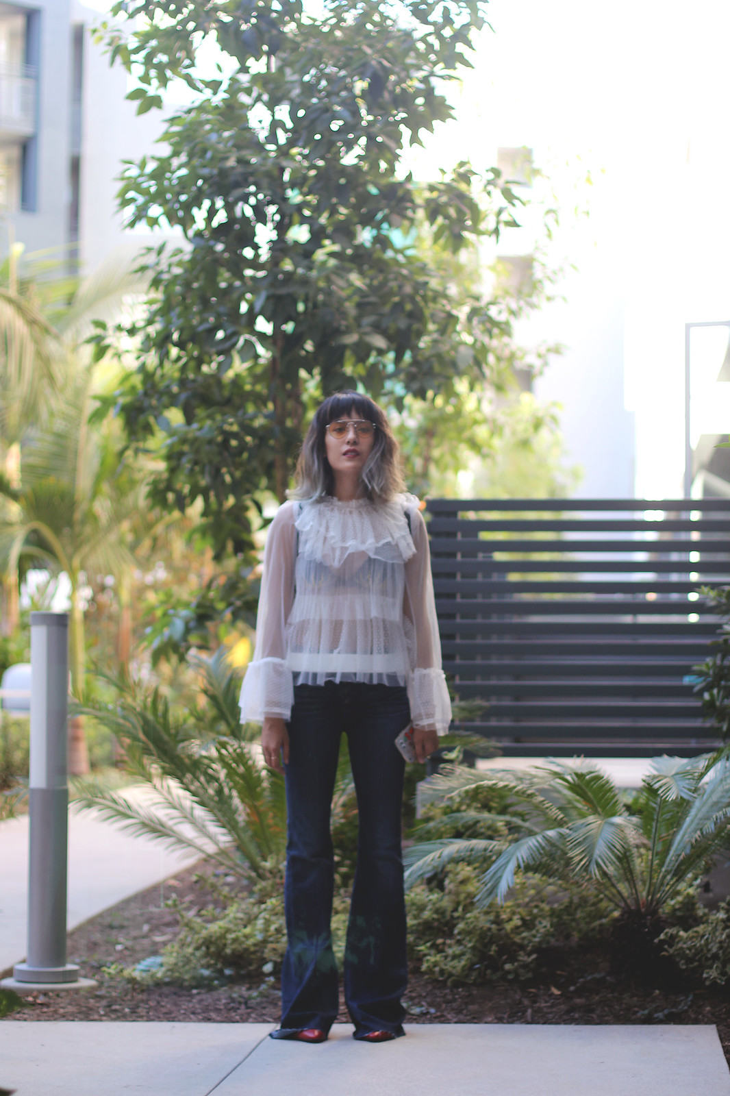 Hudson flared jeans, sheer lace tulle top