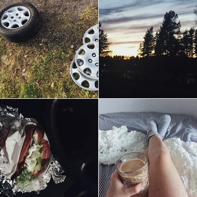 vaihtaa talvirenkaat, changed winter tires to car, sunsets, auringonlasku, syksy, autumn, fall, nakkikioski, grillikioski, helsinki, espoo, suomi, finland, a hot dog stand, lihapiirakka, meat pie with kebab, lihapiirakka kebabilla, lazy sunday at home, laiska sunnuntai kotona, blanket, viltti, villasukat, wool socks, coffee, kahvi.
