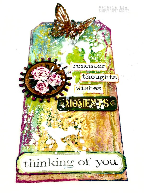 Meihsia Liu simply Paper crafts mixed media tag Simon says stamp Monday challenge thinking of you